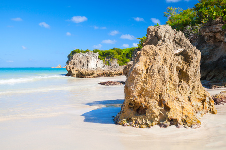 Coastal rocks on Macao Beach, popular touristic resort of Dominican Republic, Hispaniola Island