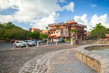 Altos de Chavon, Dominican republic - January 7, 2017: Street of Altos de Chavon, mediterranean style European village located atop the Chavon River in La Romana