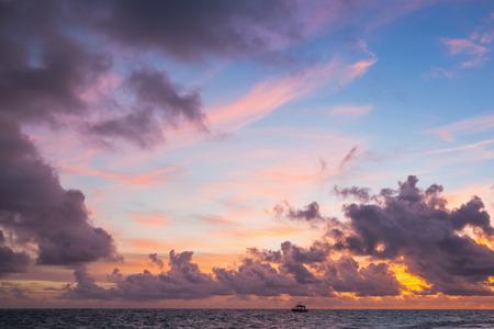 cana: Colorful sunrise over Atlantic Ocean, Bavaro , Hispaniola Island. Dominican Republic, coastal landscape