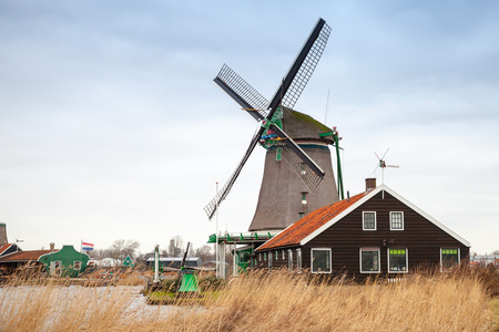 zaan: Windmill in Zaanse Schans town. It is one of the popular tourist attractions of the Netherlands
