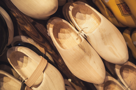klompen: Uncolored clogs made of poplar wood. Klompen, traditional Dutch shoes for everyday use