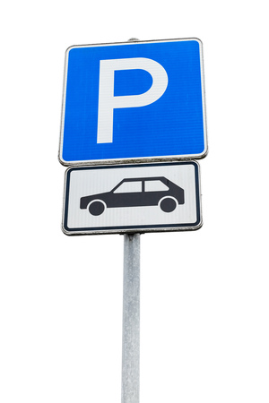 standard steel: Parking lot road sign isolated on white background, close up photo