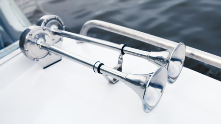 chromium plated: Stainless boat electric horns with chromium plated trumpet, yacht safety equipment