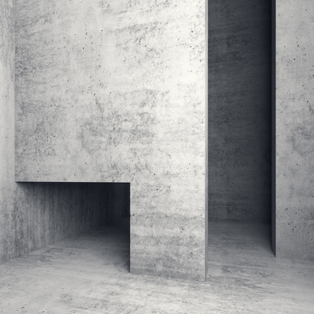 d: Abstract empty square concrete interior with doorways, 3d illustration