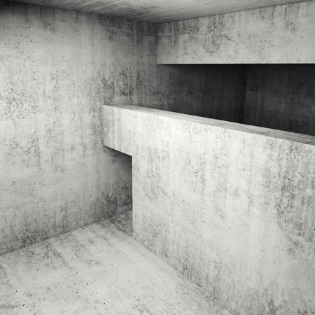 d: Abstract empty square concrete interior, 3d illustration
