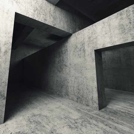 d: Abstract empty concrete interior, walls with doorways, square 3d illustration