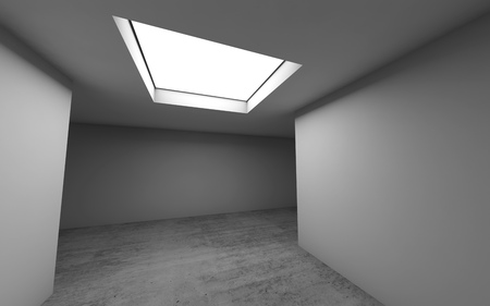 Abstract contemporary architecture template, empty room interior background with concrete floor and ceiling light window. 3d render illustration Reklamní fotografie