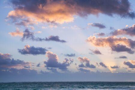 Horizon over Atlantic ocean. Landscape with dramatic cloudy sky in sunrise, Dominican republic. Punta Cana. Bavaro beach
