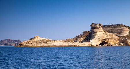 Coastal rocks of mountainous Mediterranean island Corsica. Corse-du-Sud, France. Panoramic photo