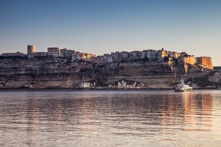 Old town on rocky coast of Bonifacio. Corsica island, Corse-du-Sud, France Stock Photo