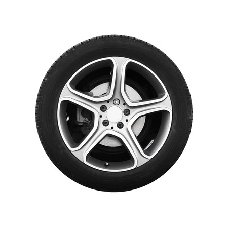 aluminium: Tubeless car wheel on light alloy disc isolated on white background, frontal view