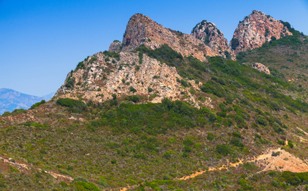 french way: Summer mountain landscape of Piana region, South Corsica, France