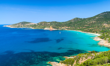 Summer landscape of Corsica island. Small azure bay of Piana region, France Stock Photo