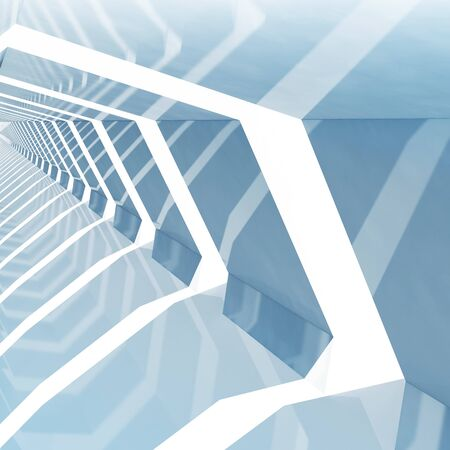 futuristic interior: Abstract blue toned square cg background with empty shining tunnel interior perspective, 3d illustration