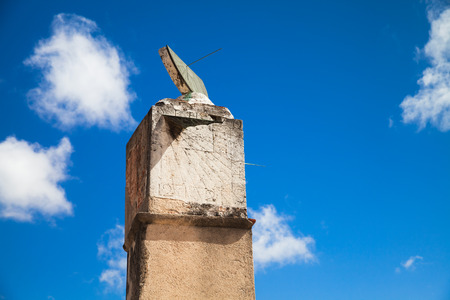 Old sundial under blue sky, landmarks of Santo Domingo, Dominican Republic Stock Photo