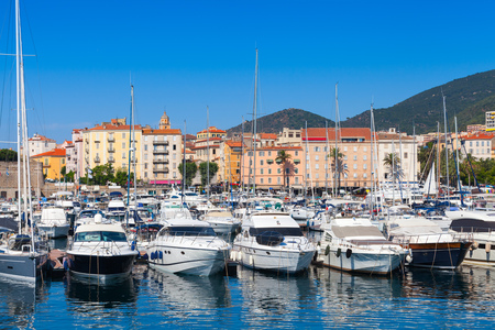 Pleasure yachts moored in marina of Ajaccio, the capital of Corsica, French island in the Mediterranean Sea