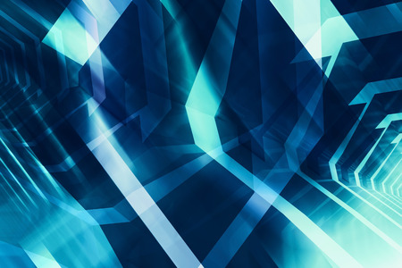 Abstract dark blue digital background, high-tech cg concept with glowing chaotic polygonal structures, 3d illustration useful as a screen wallpaper Stock Photo