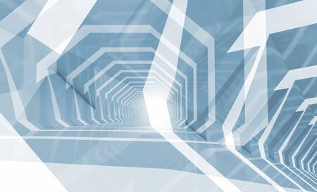 futuristic interior: Abstract blue toned computer graphic background with chaotic geometric structures, 3d illustration, multi exposure effect