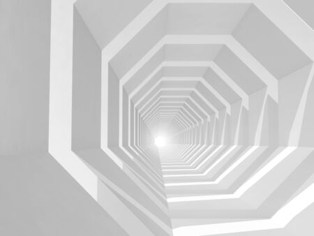 futuristic interior: Abstract white hypnotic cg background with empty tunnel perspective, 3d illustration