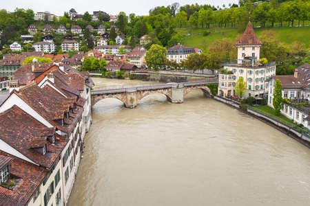 riverside trees: Aare river. Coastal landscape of Bern old town, Switzerland
