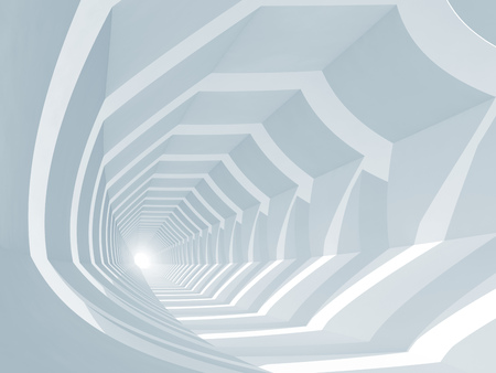 corridors: Abstract blue digital background, empty tunnel perspective, 3d render illustration