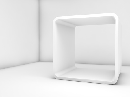 Abstract white empty interior, contemporary design. Room with chamfer box frame installation. 3d render illustration