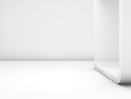 Abstract white empty interior, contemporary design of a room with chamfer box frame. 3d render illustration Фото со стока