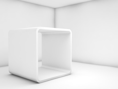 Abstract white empty interior, contemporary design. Room with chamfer box frame installation. 3d illustration
