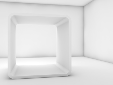 Abstract white empty interior, contemporary design of a room with chamfer box frame installation. 3d render illustration