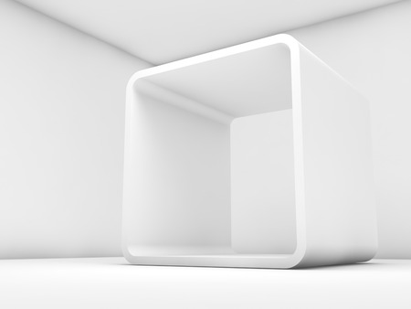 Abstract white empty interior, contemporary design of a room with chamfer box frame installation. 3d illustration