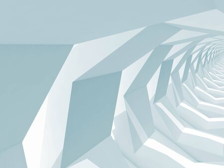 hallway: Abstract blue toned digital background, empty shining polygonal tunnel perspective, 3d render illustration