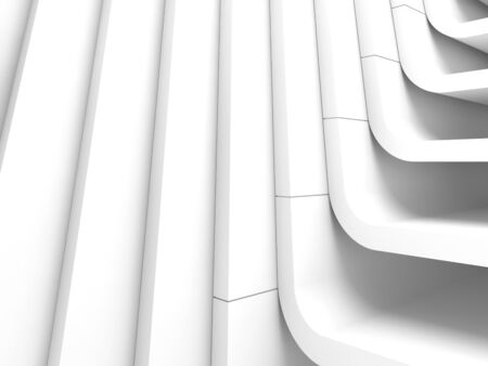White abstract modern architecture background, curved structure. 3d render illustration