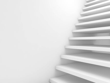 goes: Abstract cg background, empty white stairs goes up, 3d illustration