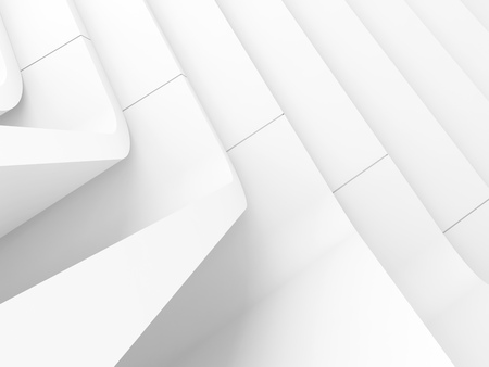White abstract modern architecture background, curved stairs structure. 3d render illustration