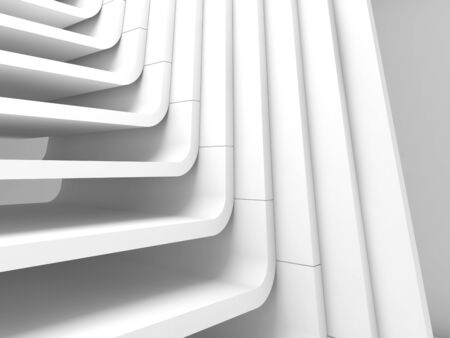 White abstract architecture background, curved stairs structure. 3d render illustration