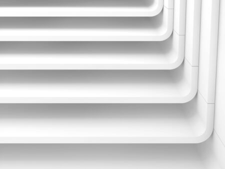 White abstract modern architecture background, stairs structure. 3d render illustration