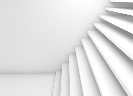 goes: Abstract computer graphic background, empty white stairs goes up, 3d illustration