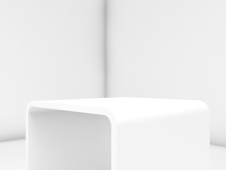 Empty white exhibition stand in blank interior, 3d render illustration