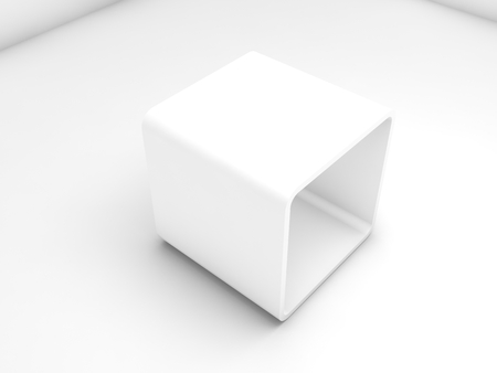Empty white exhibition box in blank interior, 3d illustration Фото со стока