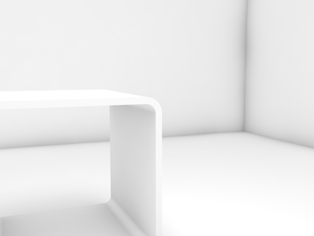 Empty white exhibition stand in blank gallery interior, 3d illustration