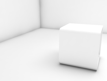 Empty white exhibition stand in blank corner, 3d illustration