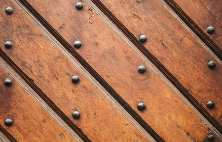 Vintage Brown Wooden Wall With Decorative Nails Pattern, Background ...