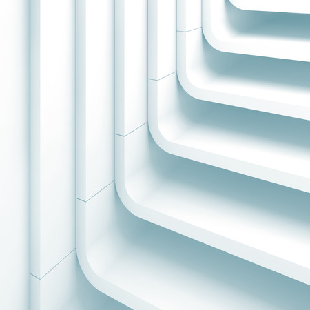 Blue toned abstract square background, curved stairs structure. 3d render illustration
