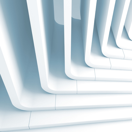 Blue toned abstract background, curved stairs structure. 3d render illustration