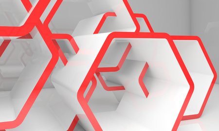 Abstract white honeycombs structure with red sections. Computer graphic background useful as a wallpaper image. 3d illustration