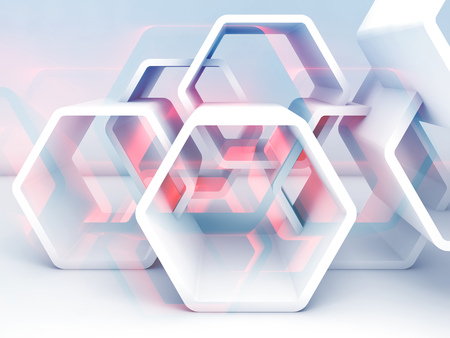 Abstract hexagonal structure with blue and red sections. Computer graphic background useful as a wallpaper image. Double exposure effect, 3d render illustration