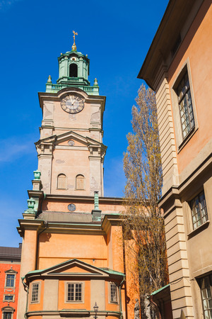 Storkyrkan, close-up of its tower, this is the oldest church in Gamla stan, the old town in central Stockholm, Sweden