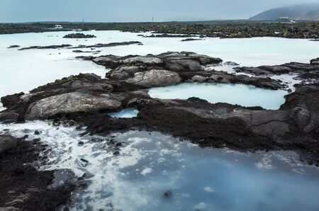 grindavik: Iceland, Blue lagoon coastal landscape. This geothermal spa is one of the most visited attractions in Iceland Stock Photo