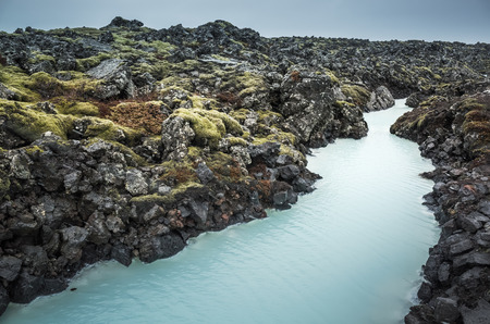 grindavik: Iceland, Blue lagoon canal. This geothermal spa is one of the most visited attractions in Iceland Stock Photo