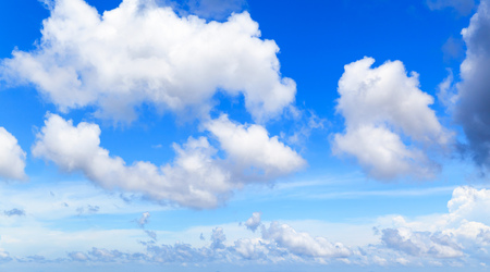 White cumulus clouds in blue sky at day, natural photo background texture Stock Photo